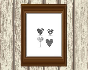 Love HeartsArt Print, Printable art wall decor, heart art digital, black and white printable art decor, romantic art