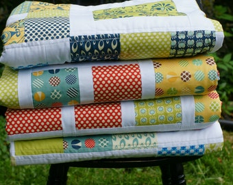 Modern patchwork quilt, twin size quilt, made to order quilt, custom quilt, wedding gift, anniversary gift, shower gift, full size quilt