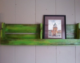 Green Painted Wood Pallet Shelf w/reduced front panel