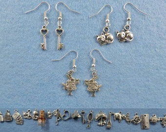 Alice in Wonderland earrings with the charm of your choice.