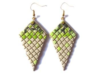 Polymer Clay Earrings, Pistachio Jewelry, Green Earrings, Beige Earrings, Square Jewelry, Geometric Earrings, Big Earrings Statement Jewelry