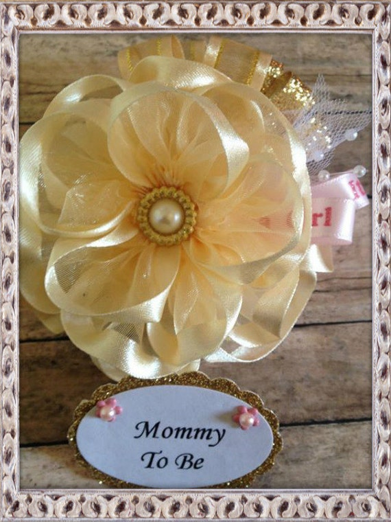gold pink mommy to be corsage gold theme baby shower corsage grandma