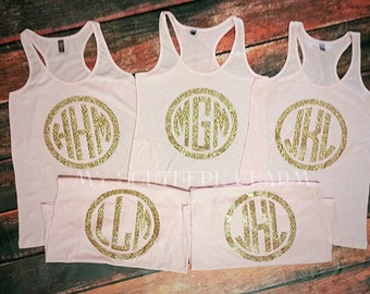 6 Bridesmaid Shirts // Bridal Party Tank Tops // Bachelorette Party Shirts // Bridesmaid Personalized Gift (mg001)
