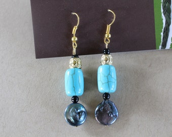 Blue Turquoise beaded earrings