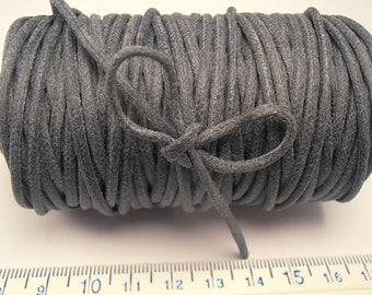 30 yd 2mm WAXED Cotton Cord Stone GREY  - High Quality Cord Made in the USA (16w)