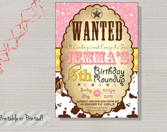 Cowgirl Invitation, Cowboy Invitation, Cowgirl Party, Cow, Brown, Pink, Gingham, Paisley, Roundup-Jemma Collection