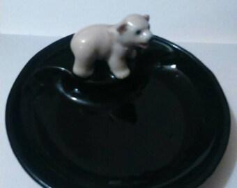 Polar bear cub wade pin tray Irish Wade whimsey whimsy