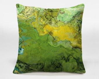 Decorative pillow with abstract art 14x20, 16x16, 18x18, 20x20 yellow and green accent pillow, throw pillow cover, Spring