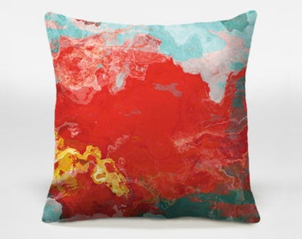 Throw pillow with abstract art, 14x20, 16x16, 18x18, 20x20 turquoise and red decorative pillow, accent pillow cover, Bon Temps
