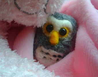 """Needle Felted owl just under 2""""."""