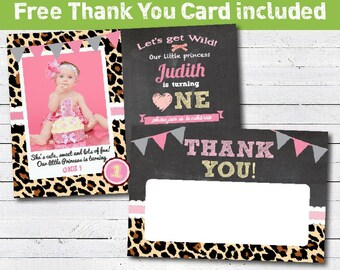 Leopard animal print birthday invitation. girl birthday invitation. cheetah chalkboard photo card printable digital invite. KB025