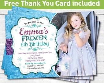 Frozen birthday invitation. girl birthday party invitation. Aqua purple glitter photo card invitation. printable digital file. KB020