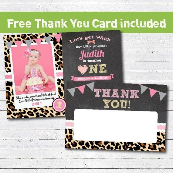 Leopard Animal Print Birthday Invitation Girl