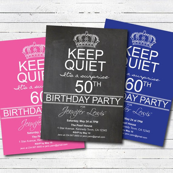 surprise 50th birthday party invitation 50th birthday 60th – Party Invitations 50th Birthday