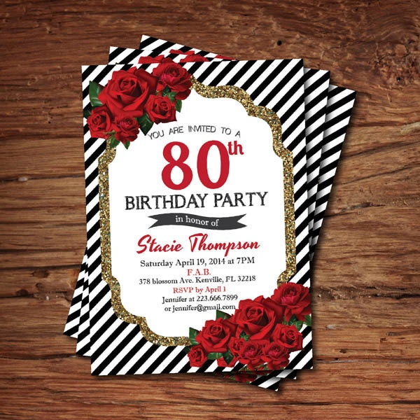 80th birthday invitation. Adult woman birthday. surprise 80th