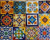 48 Mexican Talavera Tile mix 4x4 ""