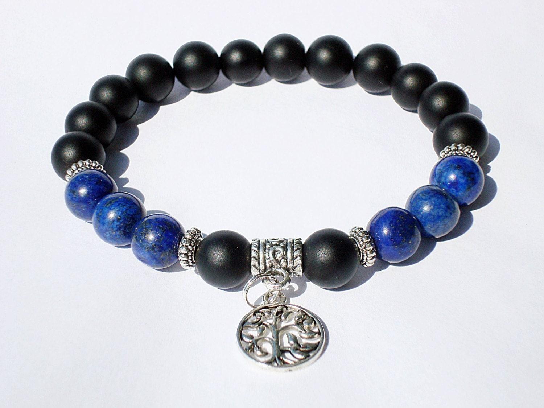 MENS Beaded Bracelet MATTE Black Beads Onyx Bracelet Mens