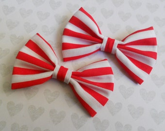 red and white stripe hair bow set