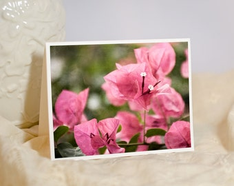 Tropical Flower Greeting Card - Floral Photography - Bougainvillea Photo Note Card - Pink Flowers - Hawaiian Birthday - Blank or Custom Card