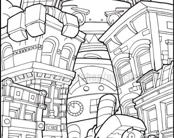 Robot Destroyer Colouring Page Adult Book