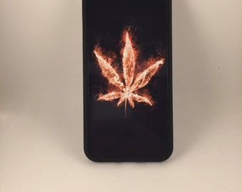 """Red Weed Leaf iPhone 6 4.7"""" 6 Plus 5.5"""" Hybrid Rubber Protective Case Dank"""