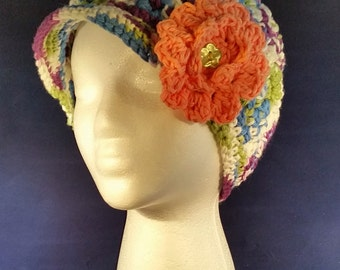 Multi-Color Newsboy Hat with Flower