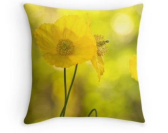 Gardeners Gift, Yellow Cushion, Yellow Decor, Poppies Pillow, Flower Cushion, Wildflowers Cushion, Flower Decor, Flower Throw Pillow