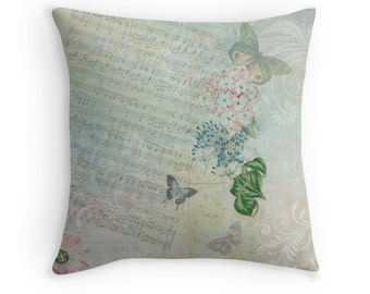 Gift for Musician, Pastel Decor, Music Teacher Gift, Butterfly Pillow, Blue Pastel Cushion, Floral Cushions, Love Songs, Pastel Blue Decor