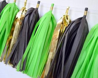 green black gold tassels, tissue tassel garland, tissue tassel garland, boy birthday decor baby boy shower green and gold tassel garland