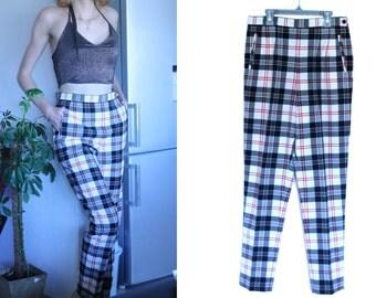 "Vintage clothes - Checked pants ""Caroll""  high waist"