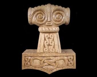 Mjölnir- Thor's Hammer Handcarved from Oak