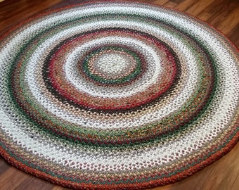 Custom made in your colors - 7 foot round hand braided wool rug - DEPOSIT only