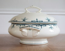 Antique White Ironstone, Earthenware,French Transferware, French Tureen, Pottery Soup Bowl, French Ironstone, Tea stained, Blue Transferware