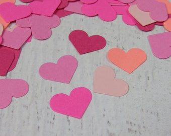 500 Pink Heart Confetti - Pink Paper Hearts- Pink Baby Shower Decor