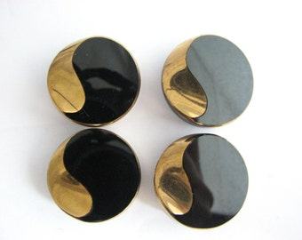 4 large black glass buttons with golden trim, Old 1980s shank buttons, Bold buttons for your next project!