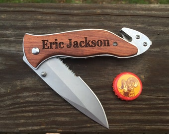 1 Personalized Pocket Knife with Pouch,Groomsmen Gift, Best Man Gift,Survival Knife,Hunting Knife,Fishing Knife, Father's Day For Wedding