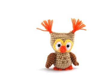 amigurumi owl doll, little crochet owl, crochet toy owl, stuffed owl, bird decoration, miniature owl, little owl, small owl, plush owl