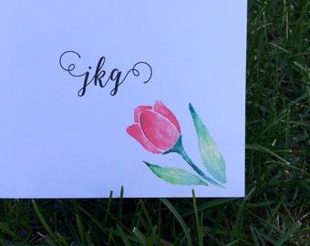 Custom Monogram Notecard with Water Color Tulip