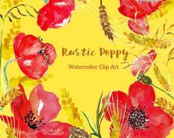Rustic Poppy watercolor clip art, Digital Watercolors clipart hand drawn. Big SET Rustic Poppy wedding bright red yellow flowers invitations