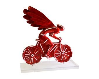 Bicycle Angel Rider sculpture.Casted bronze,enamel colors, perspex stand.Handmade,Signed.Pop Art.Home Bike Decor Gift.Cycling Office Decor
