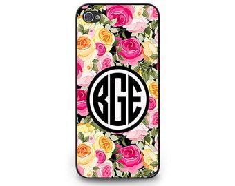 Floral Phone Case - Floral Monogram iPhone 6 Case - Monogram Floral Cell Phone Case - Floral Monogram iPhone 5c Case