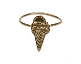 ICE CREAM ring in brass