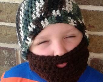 Crochet Camo Hat, Crocheted Bearded Beanie, Crochet Camouflage Hat, Beard Beanie, hunter costume, gifts for boys, Handmade Hat, Halloween
