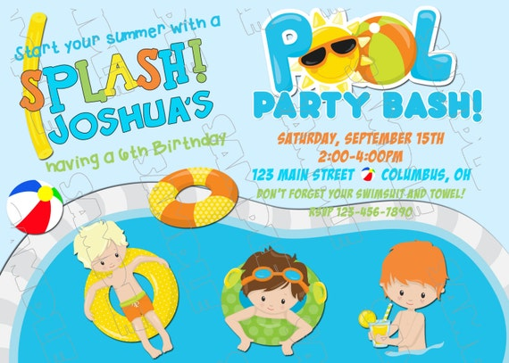 pool party invitation swim party swimming birthday party printable