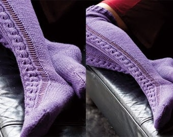 Hand Knitted Cabled Stockings Over Knee Socks Women Ladies Teens Wool Blend