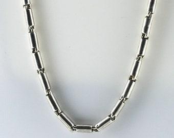 Vintage Sterling Silver Tube, Unique   Necklace 13.3g U5949