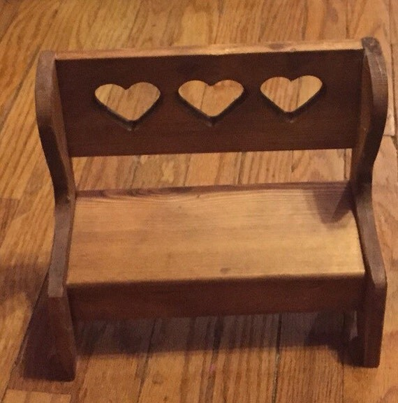 Vintage Wooden Doll Furniture Bench W Cutout By Kalicovintage