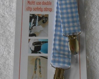 BatesCreates double clip baby toy leash, tether, stroller or nursing cover strap - 100% cotton fabric (Blue Gingham) FREE POST