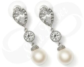 Bridal Pearl Bridesmaid Pearl Earrings Cubic Zirconia 92.5 Swarovski Crystal White Pearl Bridal Jewelry Wedding Gift Jewelry Diamond Look