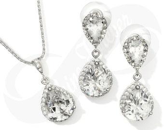 Bridesmaid Jewlery Set Bridal Cubic Zirconia Teardrop Earrings Teardrop Necklace Set Bridal Jewelry Necklace Bridal Set Bridesmaid Gift